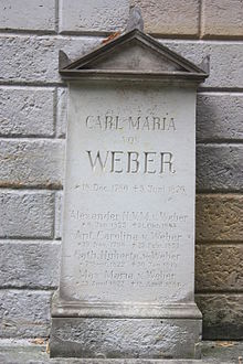The grave of Carl Maria von Weber, Old Catholic Cemetery, Dresden (Source: Wikimedia)