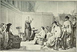 Illustration showing Pythagoras teaching a class of women