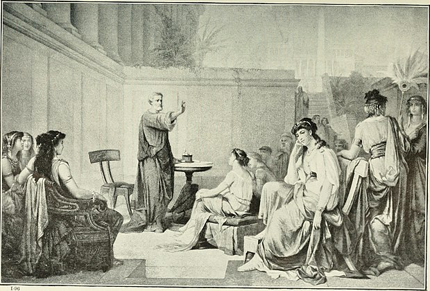 Illustration from 1913 showing Pythagoras teaching a class of women. Many prominent members of his school were women and some modern scholars think that he may have believed that women should be taught philosophy as well as men. The story of the greatest nations; a comprehensive history, extending from the earliest times to the present, founded on the most modern authorities, and including chronological summaries and (14783288925).jpg
