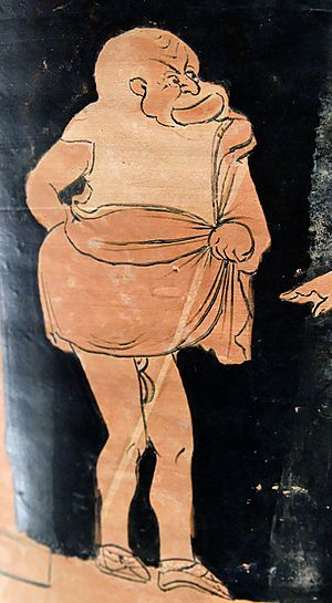 Phlyax play - Phlyax actor as a slave from a Sicilian chalice-krater by a painter of the Lentini-Manfria Group, c. 350–40 BCE (Louvre)