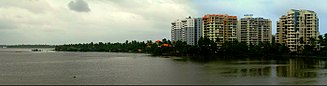 Kochi - A view of Thevara from Kundannur bridge
