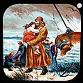 This is a boldly illustrated glass slide featuring the heroic lifeboat men saving the souls of a ship in distress. (7447462904).jpg