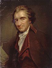 1/2 length portrait of Thomas Paine. He is turned towards the left and looking inquiringly out towards the viewer. He is wearing a dark red velvet jacket and a white shirt and there are papers next to him.
