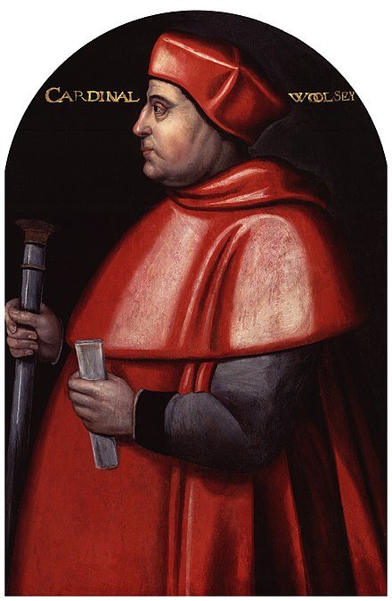Thomas Wolsey (1473-1530), Lord High Chancellor of England (1515-1529), Archbishop of York (1514-1530), Cardinal (1515), the King's chief adviser Thomas Wolsey (1473-1530).jpg