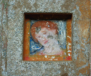 Thracians - A renovated fresco woman in the Ostrusha Mound in central Bulgaria.