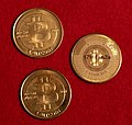 "Three 2011 1 BTC Casascius ""error"" Brass Rounds by Gage Skidmore 2.jpg"