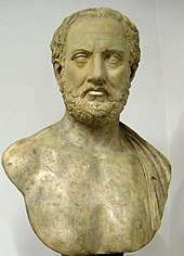 A bust of Thucydides.
