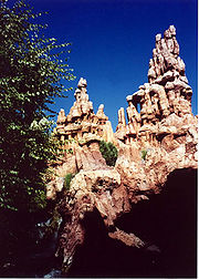 The Bryce Canyon inspired Hoodoos of Big Thunder in Disneyland as seen from the Big Thunder Trail that passed behind Big Thunder Mountain.