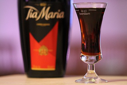 Tia Maria is a dark coffee liqueur with an alcoholic content of 20%. Tia Maria (7. november 2018).jpg