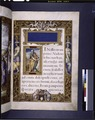 Title and opening of Gospel of Matthew. Miniature of Matthew. Elaborate full border with human figures (NYPL b12455533-1610037).tif