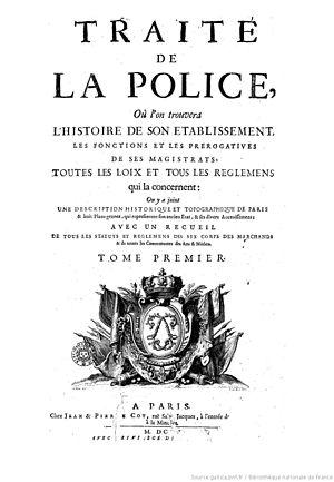 Eight maps of Paris from Traité de la police - Title page of volume one
