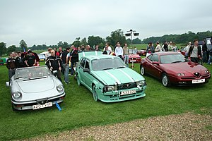 Top Gear challenges - The presenters' Alfas when the challenge ended. From left to right, Hammond's Spider, Clarkson's 75 and May's GTV.