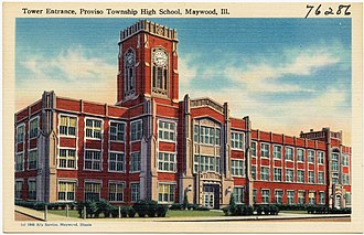 Proviso East High School - Postcard of tower entrance, early 20th century