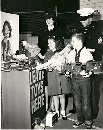 Toys for Tots - An early promotional photo from the Toys for Tots program