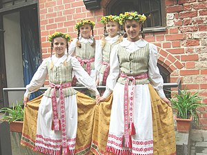 National symbols of Lithuania - Young girls wearing national dress
