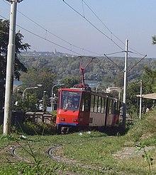 Grassed tramway track in Belgrade, Serbia