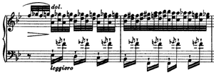 Transcendental Études - The Transcendental Études contain extreme technical difficulties, such as the right hand configuration and left hand leaps in the Transcendental Étude No. 5.