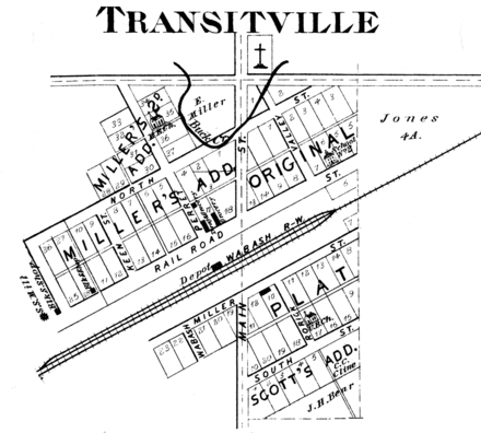 An 1878 plat map of Transitville (now Buck Creek, Indiana) Transitville, Indiana 1878.png