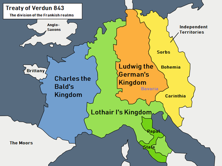 Lands divided by the Treaty of Verdun Treaty of Verdun 843.png