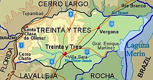 Treinta y Tres Department - Topographic map of Durazno Department showing main populated places and roads