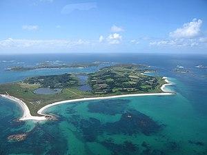 Tresco, Isles of Scilly - Aerial view of Tresco.