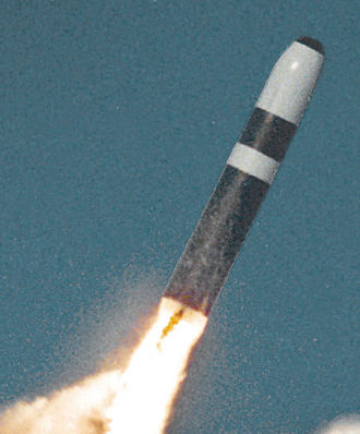 Submarine-launched ballistic missile - A Trident II missile just after launch.