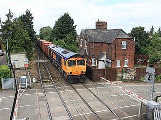Felixstowe branch line - Image: Trimley level crossing GB Rf 66704