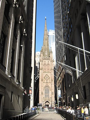 Trinity Church (Manhattan) - Trinity Church from Wall Street