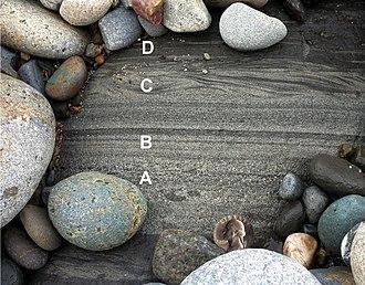 Bouma sequence - Image: Turbidite from Pigeon Pt Fm at Pescadero Beach, CA