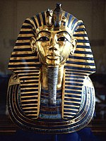 Golden funeral mask of king Tutankhamun, a symbol for many of ancient Egypt.