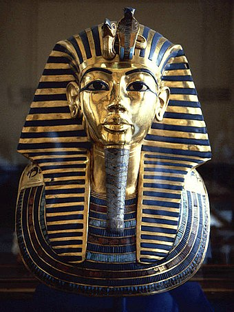 Pharaohs' tombs were provided with vast quantities of wealth, such as the golden mask from the mummy of Tutankhamun. Tutmask.jpg