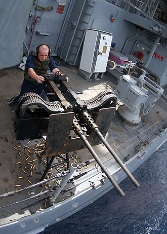 M2 Browning - Twin M2HB machine gun during a Pre-aimed Calibration Fire (PACFIRE) exercise in May 2005