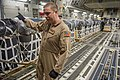 U.S. Air Force Tech. Sgt. Russell Johnson, a C-17 Globemaster III aircraft loadmaster with the 816th Expeditionary Airlift Squadron, guides a K-loader operator while loading container delivery systems inside his 130110-F-PM120-158.jpg