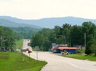 Scott County, Tennessee - US-27 at the Tennessee-Kentucky state line, looking south into Scott County