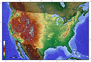 A topographical map of the contiguous United States with hypsometric tints.