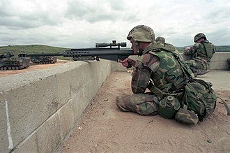 Interceptor Body Armor - A U.S. Marine wearing an IBA vest while practicing with an M82A3 anti-materiel rifle at Camp Pendleton, California in April 2001.