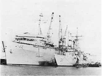 USS Acadia (AD-42) - Image: USS Acadia (AD 42) with USS Stark (FFG 31) alongside