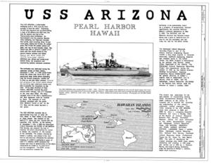 USS Arizona, Submerged off Ford Island, Pearl Harbor, Honolulu, Honolulu County, HI HAER HI,2-HONLU,31- (sheet 1 of 4).png