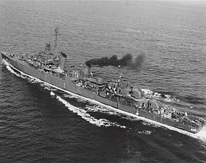 USS Halsey Powell (DD-686) underway off San Pedro, California (USA), on 6 July 1945