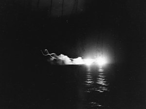 USS St. Louis (CL-49) and other ships firing during the Battle of Kolombangara, 13 July 1943 (80-G-342767).jpg