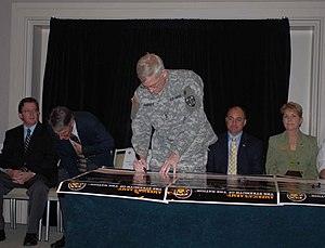 Army Reserve Medical Command - Maj. Gen. James A. Hasbargen, former Commanding General of AR-MEDCOM, Pinellas Park signs the Army Community Covenant during a ceremony held in Tampa.