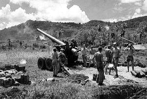 US Marine Corps 155mm rifle on White Beach, Guam