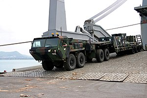Logistics Vehicle System - LVS fifth-wheel variant, towing an M870A2 semitrailer