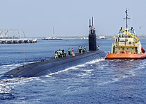 US Navy 050812-N-1550W-019 The Sea Wolf-class attack submarine USS Jimmy Carter (SSN 23) departs Naval Submarine Base Kings Bay for a one-night underway that included an embark by former President Jimmy Carter and his wife Rosa.jpg