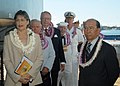 US Navy 050902-N-6775N-096 Members of the official party, including Hawaii Gov. Linda Lingle, prepare to enter the ceremonial stage prior to the start of the 60th Anniversary of the end of World War II held aboard the USS Misso.jpg