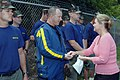 US Navy 070811-N-3093M-014 Minnesota Senator, Julianne E. Ortman personally thanks Chief Navy Diver Raymond Lawrence of Mobile Diving and Salvage Unit (MDSU) 2 for his efforts in the wake of the I-35 bridge collapse.jpg