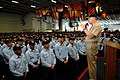 US Navy 080819-N-8273J-019 Chief of Naval Operations (CNO) Adm. Gary Roughead speaks to Sailors and Marines during an all-hands call aboard the Nimitz-class aircraft carrier USS George Washington (CVN 73) in San Diego.jpg