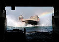 US Navy 081224-N-6764G-104 A landing craft air cushion (LCAC) from Assault Craft Unit (ACU) 4 prepares to embark aboard the amphibious transport dock ship USS San Antonio (LPD 17).jpg