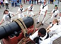 US Navy 090916-N-2893B-002 The master gun team of USS Constitution demonstrates the loading and firing sequence of an 18th-century naval long gun.jpg