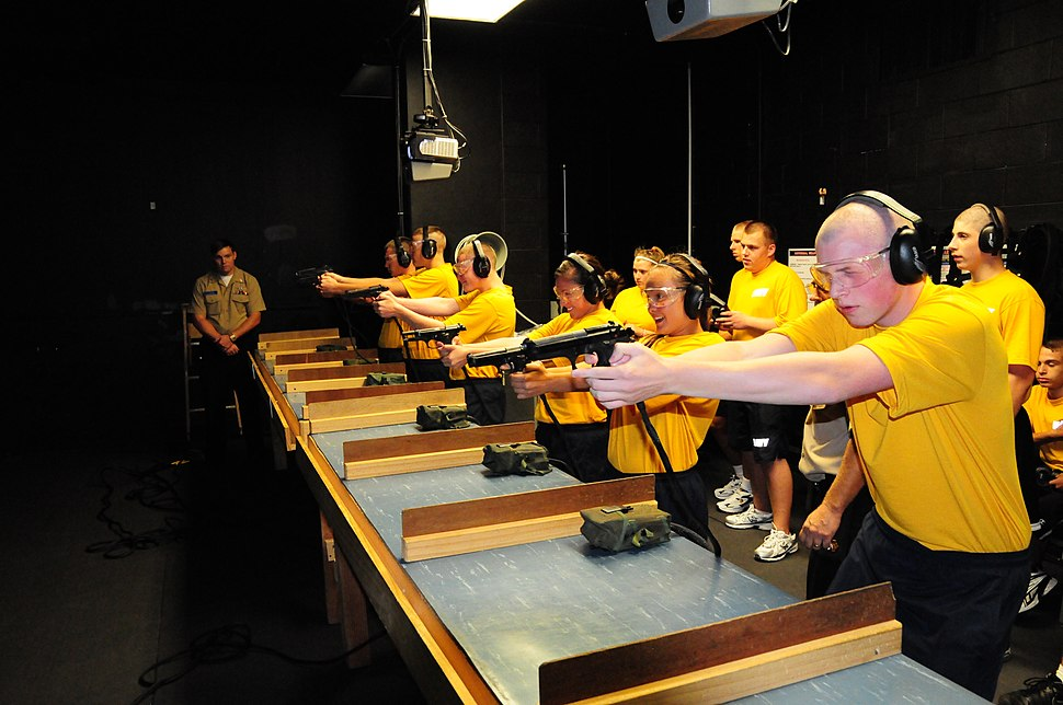 US Navy 100923-N-7682A-014 Navy Junior ROTC cadets from Hamilton High School, Ohio, practice marksmanship at the Fire Arms Training Simulator (FATS